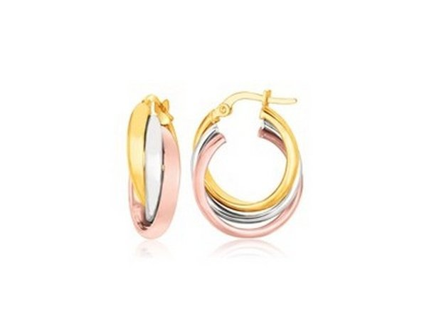 14K TRI-COLOR GOLD DOMED TUBE INTERTWINED EARRINGS-
