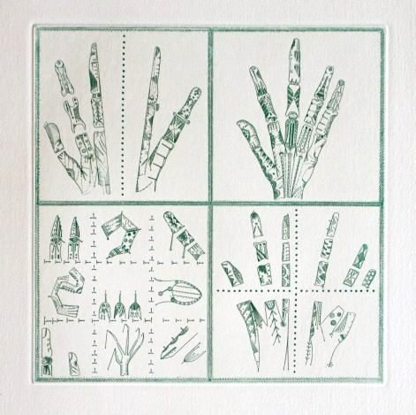 """PONC HAND SIGNED ETCHING """"FINGERS"""""""