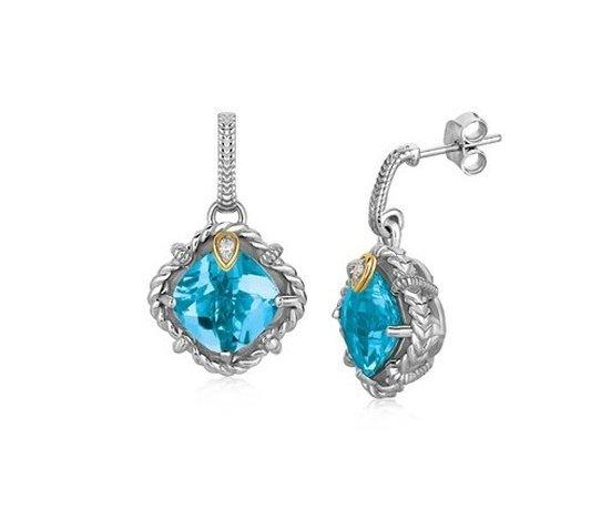 18KY GOLD & STERLING BLUE TOPAZ & DIAMOND ACCENT DROP
