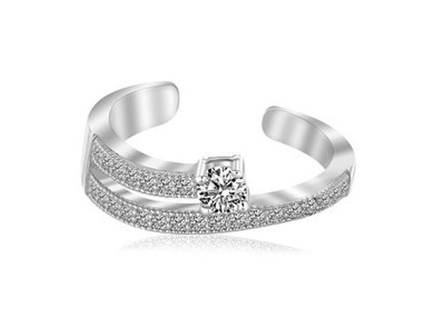 STERLING RHODIUM FINISHED WHITE CZ OPEN TOE RING-