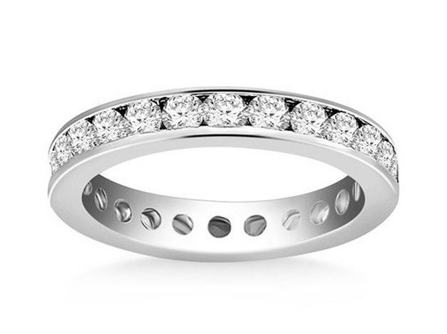 14KW GOLD ETERNITY RING W/ CHANNEL SET ROUND DIAMONDS