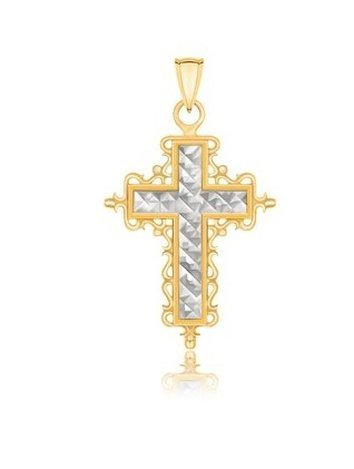 14K TWO-TONE GOLD DIAMOND CUT & BAROQUE INSPIRED CROSS
