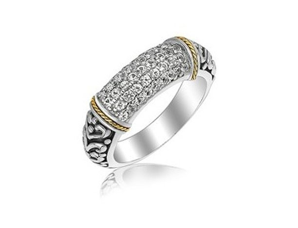 18KY GOLD & STERLING RING ACCENTUATED W/ WHITE