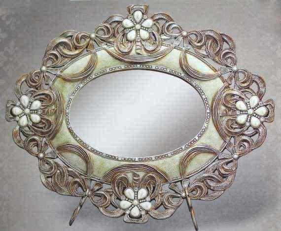 """""""VINTAGE ROSE"""" ANTIQUE STYLE MIRROR / TRAY"""