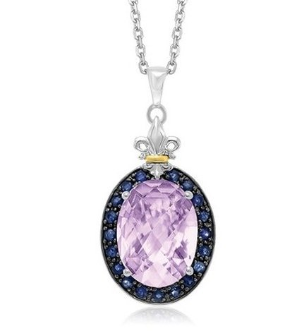 18KY GOLD & STERLING PINK AMETHYST & BLACK SAPPHIRE