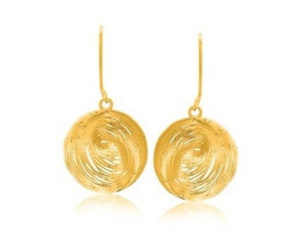 14KY GOLD FANCY LACE LIKE CLAM SHELL DANGLING EARRINGS-