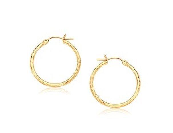 14KY GOLD SLENDER HOOP EARRING W/ DIAMOND-CUT FINISH