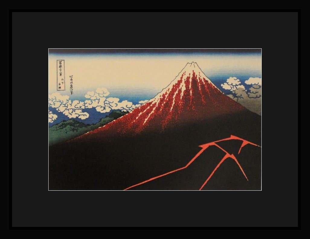 "HOKUSAI ""LIGHTNING BELOW THE SUMMIT"" - FRAMED"