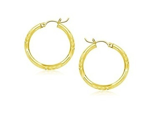 14KY GOLD DIAMOND CUT HOOP EARRINGS (20MM)-
