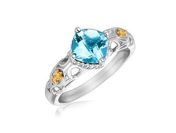 18KY GOLD & STERLING BLUE TOPAZ RING W/ FLEUR DE LIS