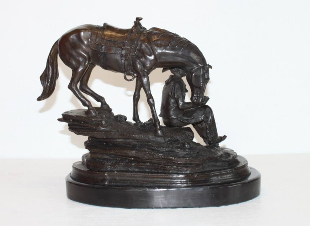 """BRONZE COWBOY & HORSE"" -  BARYE - BRONZE SCULPTURE"