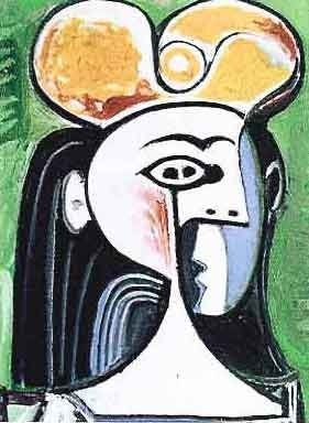 """PICASSO """"GIRL WITH BLACK HAIR AND YELLOW HAT"""""""