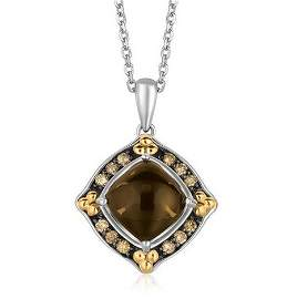 18KY GOLD & STERL NECKLACE W/ CABOCHON PENDANT-
