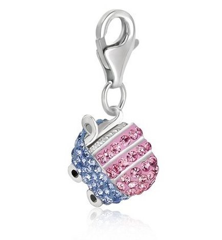 STERL BABY CARRIAGE CHARM EMBELLISHED W/ COLORED