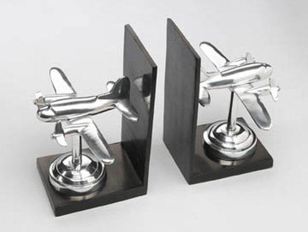 SILVER FINISH AIRPLANE BOOKENDS