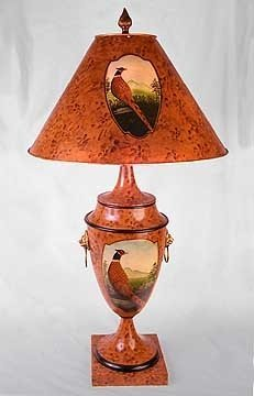 HAND PAINTED METAL PHEASANT LAMP