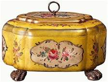 LINED YELLOW JEWELRY CHEST WITH FLORAL DESIGN
