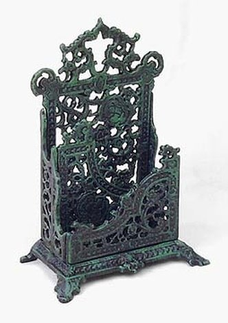 CAST IRON LETTER RACK - GREEN FINISH