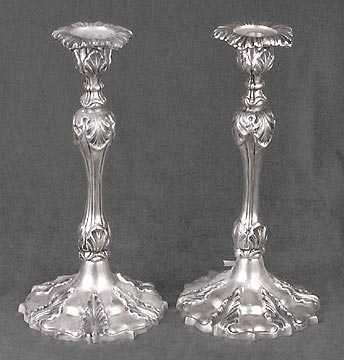 PAIR SILVER PLATED CANDLESTICKS