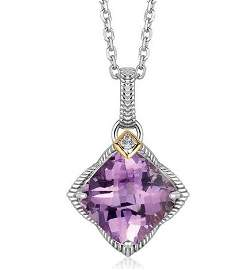 18KY GOLD & STERL AMETHYST PENDANT W/ DIAMOND ACCENTS-