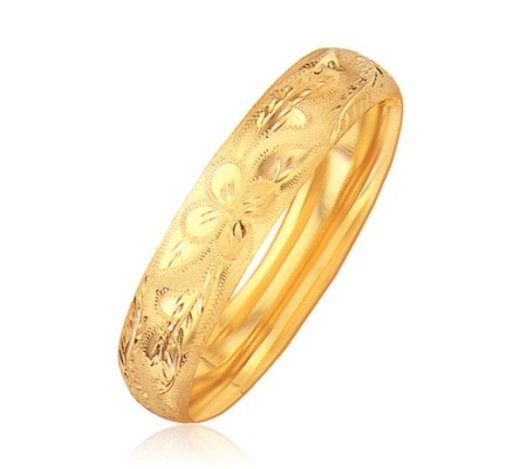 CLASSIC FLORAL CARVED BANGLE IN 14KY GOLD