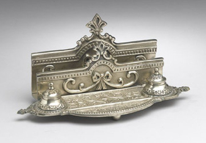 ANTIQUE SILVER FINISH INK STAND / LETTER HOLDER