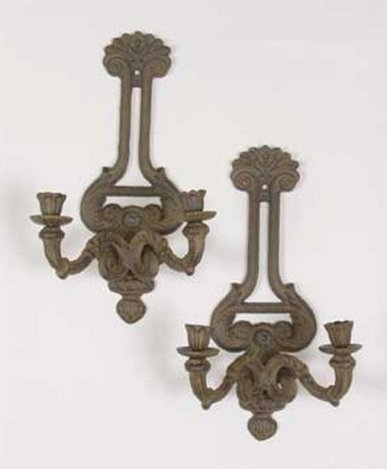 PAIR OF CAST IRON WALL SCONCES