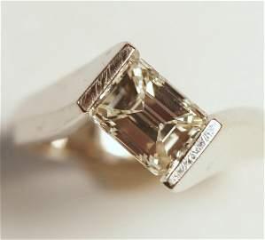 14K White Gold 1.63 Carat Emerald Cut Diamond Ring