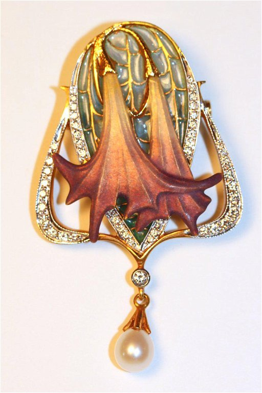 0adcd5524 Masiera 18K Art Nouveau Brooch / Pendant with Diamonds - Feb 02 ...