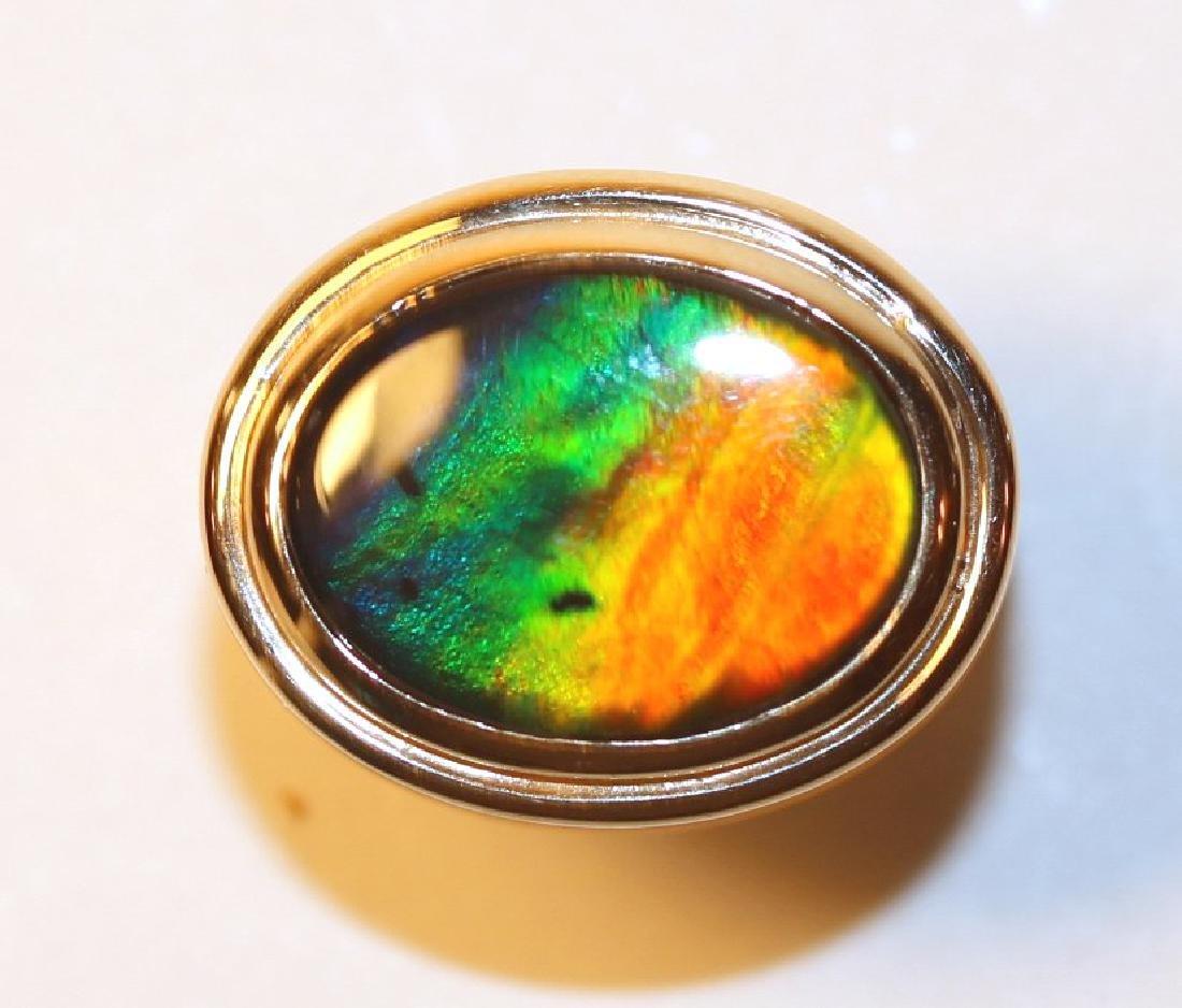 14K Yellow Gold Ammolite Ring