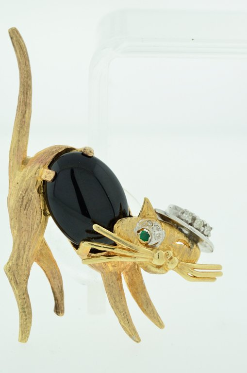 14KT YELLOW GOLD CAT PIN / BROOCH WITH DIAMONDS AND ONY
