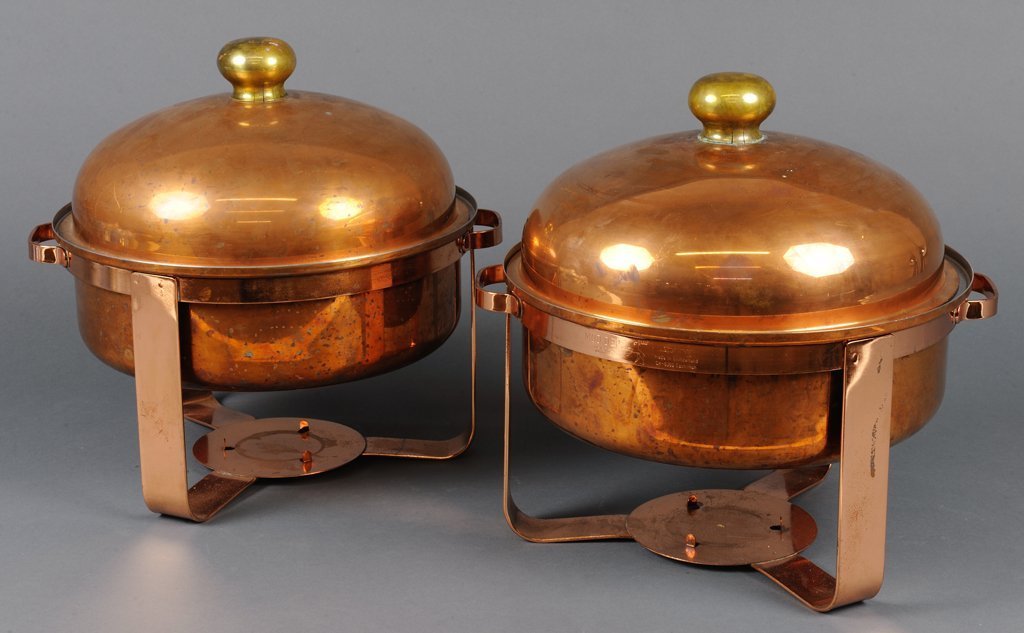 A SET OF TWO SWISS SPRING COPPER CHAFING DISHES