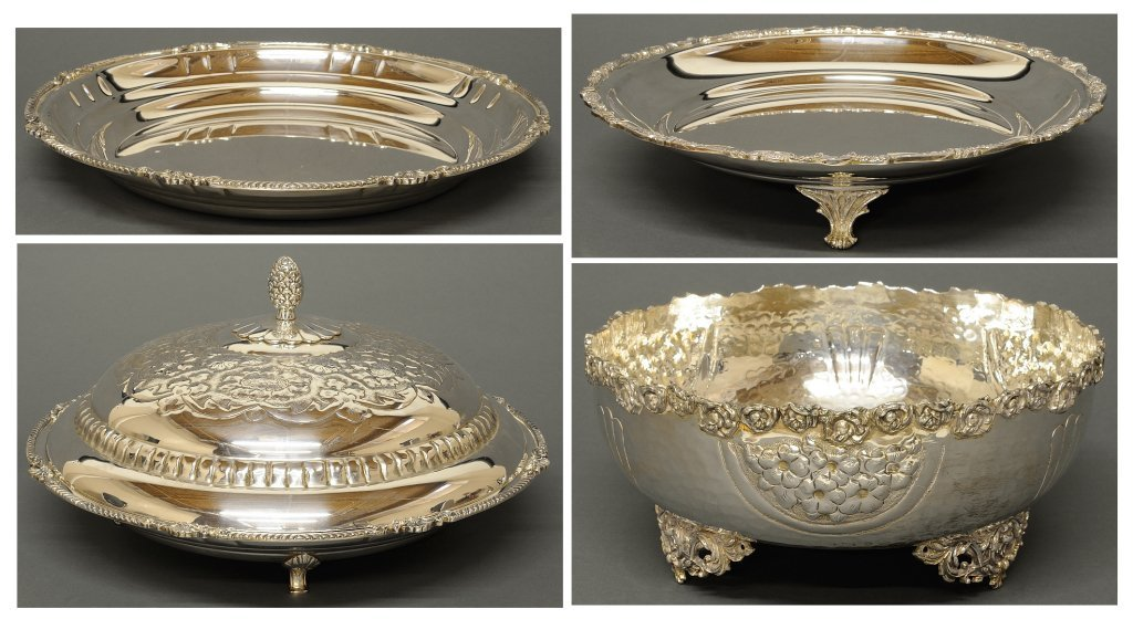 A COLLECTION OF FOUR SILVER PLATE PLATTERS AND FOOTED B
