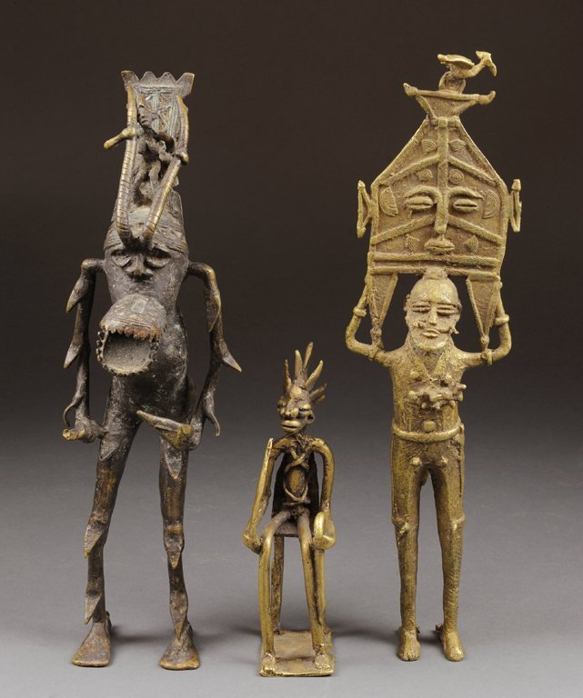 A TRIO OF VINTAGE AFRICAN ABSTRACT BRONZE AND GILT META