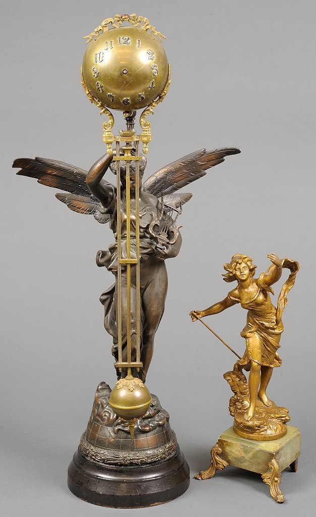 A SET OF A BRONZE FIGURAL CLOCK WITH PENDULUM AND REPRO
