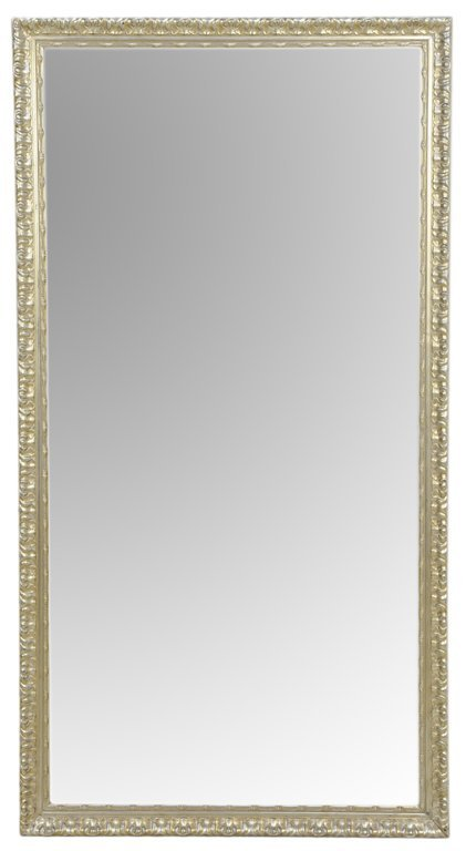 A LARGE MIRROR WITH SILVER FINISH FRAME