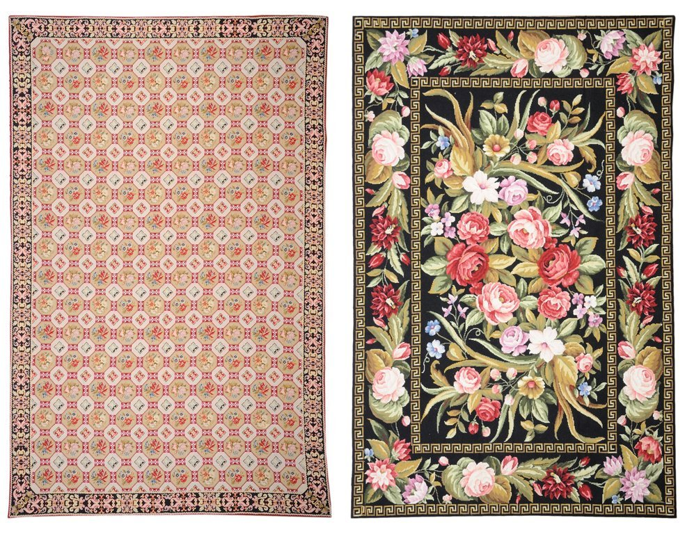 A SET OF TWO HAND WOVEN NEEDLEPOINT RUGS