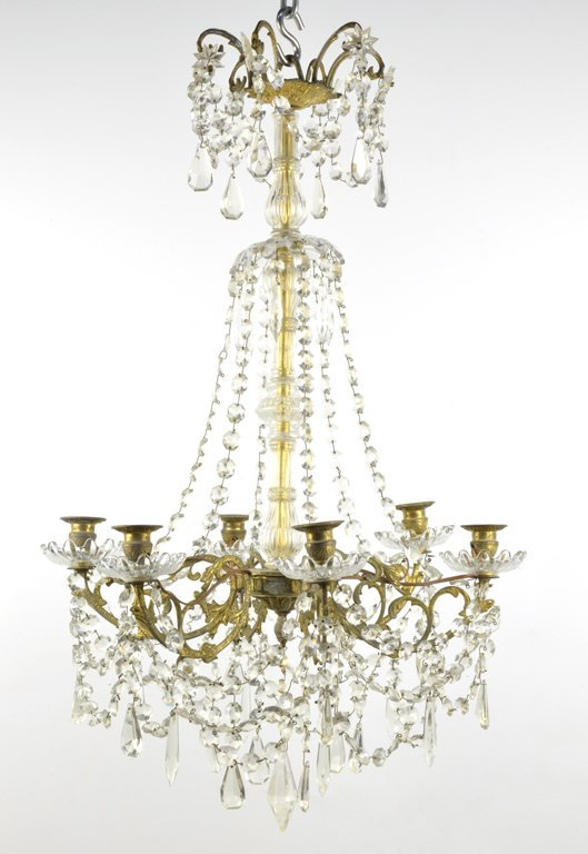 A LOUIS XVI STYLE GILT AND CRYSTAL 6-LIGHT CHANDELIER