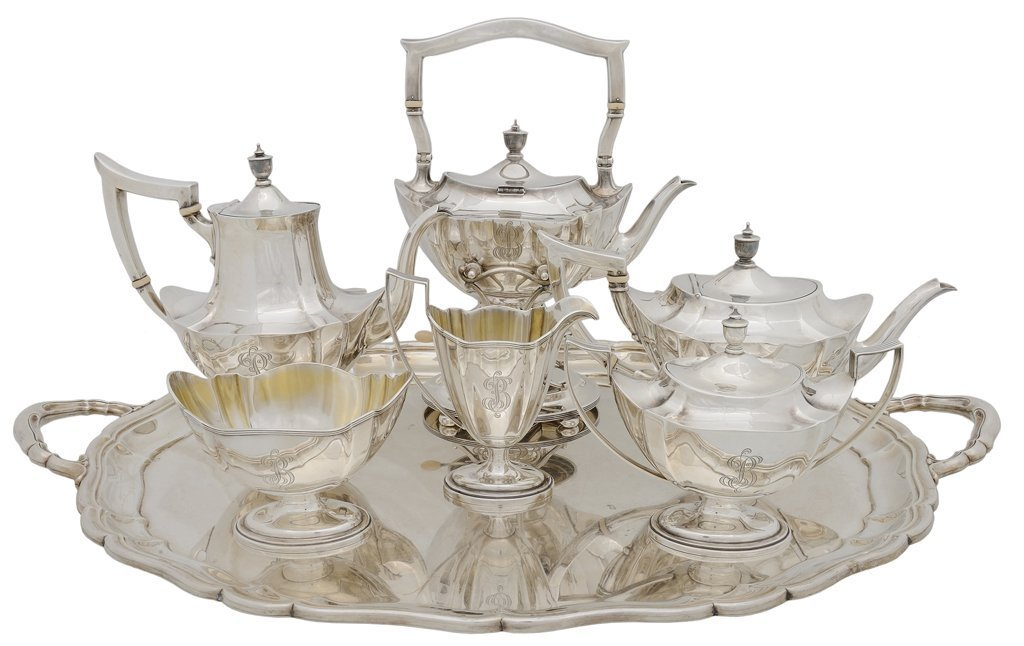 """A SEVEN PIECE GORHAM STERLING """"PLYMOUTH"""" SILVER COFFEE"""