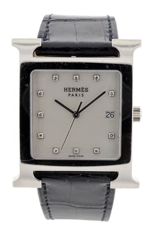 A HERMES H HOUR HEUERE WATCH WITH DIAMONDS Detected not