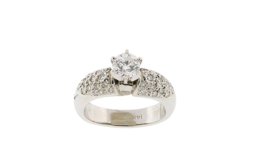 AN 14KT WHITE GOLD DIAMOND RING, GIA CERTIFIED Very goo