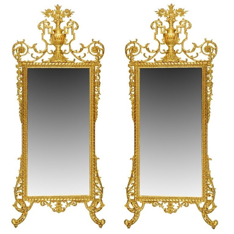 AN EXCEPTIONAL PAIR OF LOUIS XVI STYLE MIRRORS Early 20