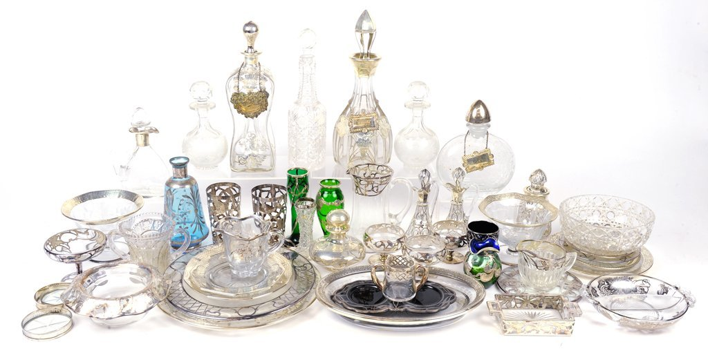 AN ANTIQUE SILVER OVERLAY ON GLASS COLLECTION
