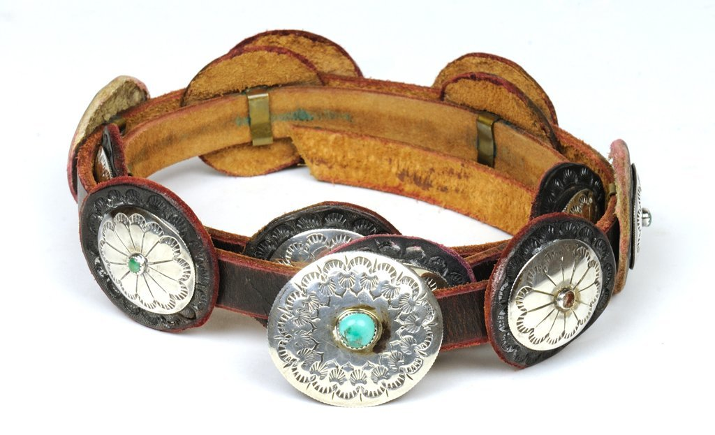 LADIES SOUTHWESTERN STERLING SILVER AND TURQUOISE BELT