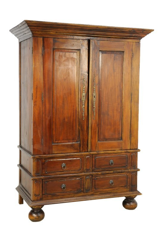A WILLIAM AND MARY STYLE OAK ARMOIRE