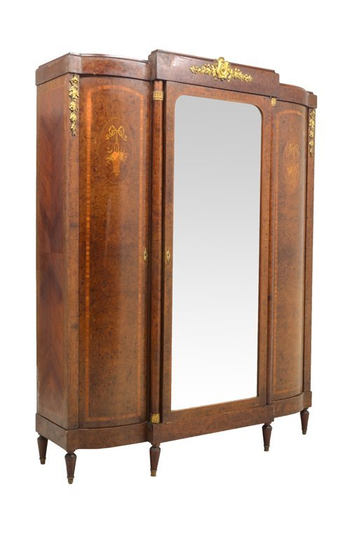 A NEOCLASSICAL STYLE ARMOIRE WITH MARQUETRY