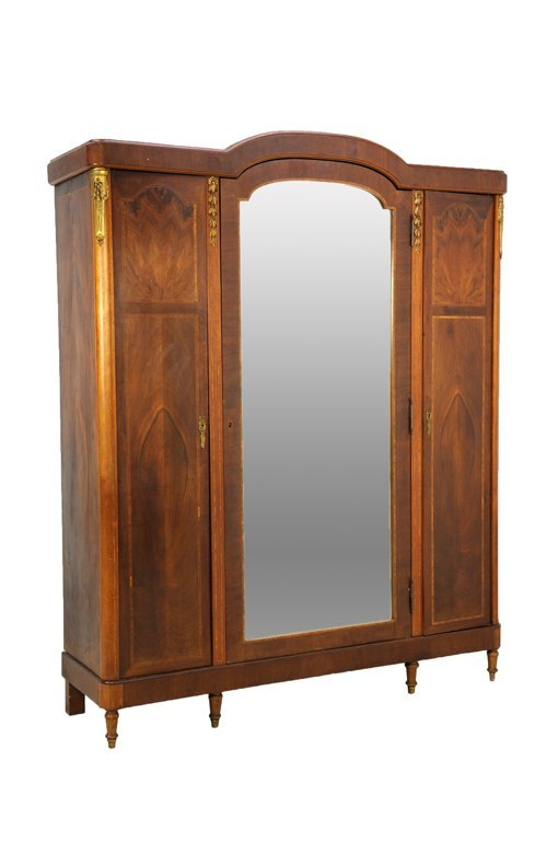 A NEOCLASSICAL STYLE INLAID AND ORMOLU MOUNT ARMOIRE