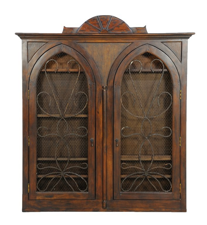 A GOTHIC STYLE HANGING BOOKCASE