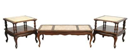 A SET OF ANTIQUE LOUIS XV STYLE TABLES WITH WHITE TOPS