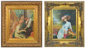 A PAIR OF OIL ON CANVAS PAINTINGS IN GILTWOOD FRAMES